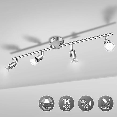 Plafonnier LED 4 Spots, Wowatt Luminaire Plafonnier Orientable 6000k Blanc Froid 4 × 6w Ampoules GU10 incluses 600Lum...