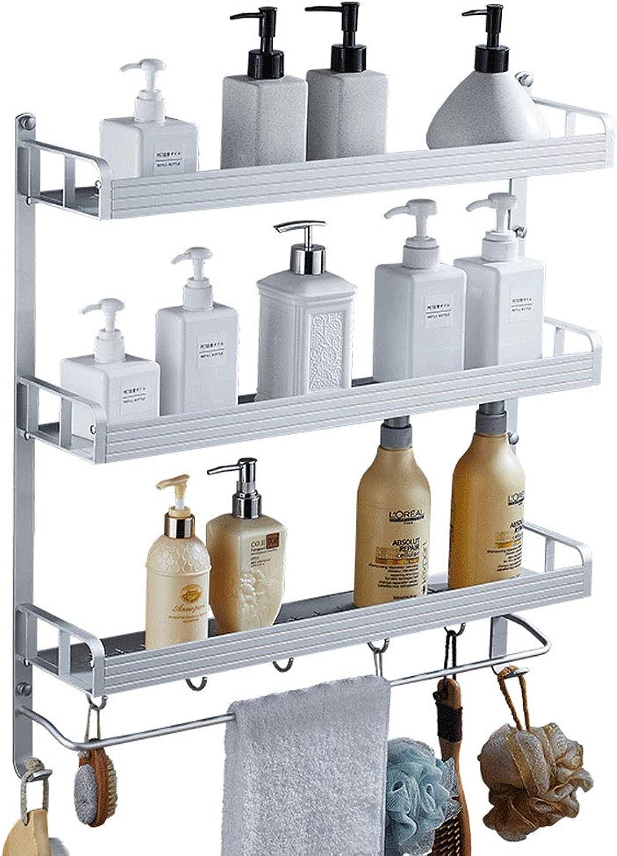 Ghelf Wall-Mounted Space Aluminum Bathroom Shelf Multifunction Punch Free Storage Shelf Metal Bathroom Shelf Waterproof Moisture Proof Fashion Household Three-Tier Rack (Size   60cm)
