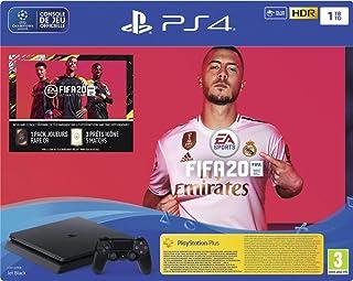 Sony PlayStation 4 Slim 1 To + FIFA 20 + PS Plus 14 jours, Avec 1 manette sans fil DUALSHOCK 4 V2, Châssis F, Noir (Jet Bl...