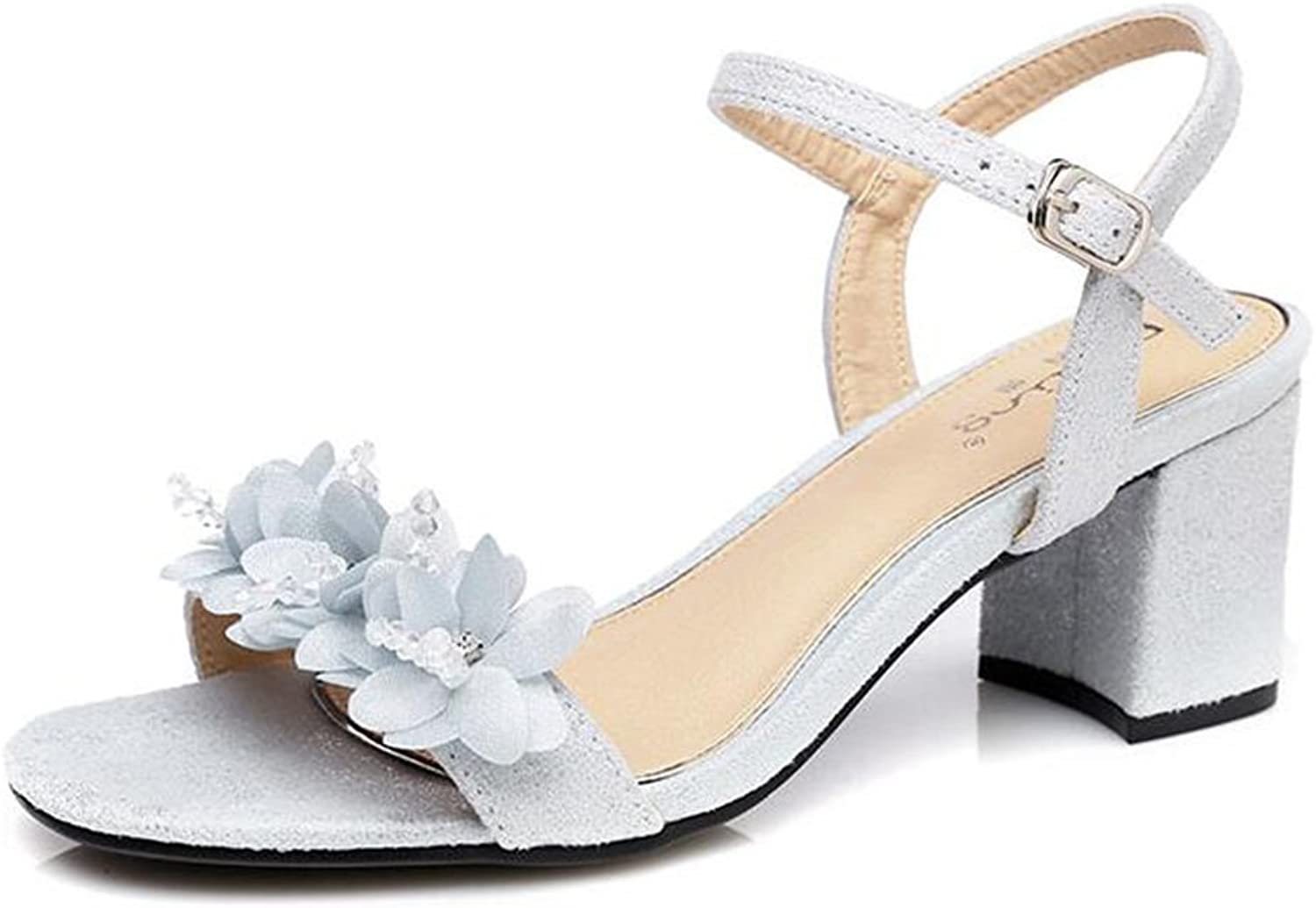 Jinsen Summer with Thick with Sandals Female Word with Pink Flowers Small Fresh Small Women shoes