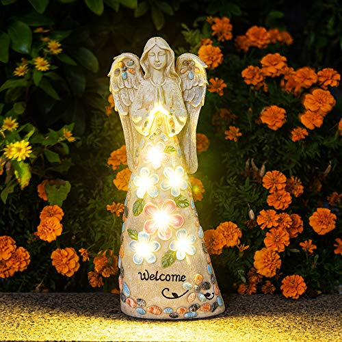 GIGALUMI Garden Angel Figurines Outdoor Decor, Garden Art Outdoor for Fall Winter Decor, Solar Angel with 6 LEDs for Patio, Lawn, Yard Art, Cemetery Grave Decoration, Sympathy Gift, Housewarming Gift