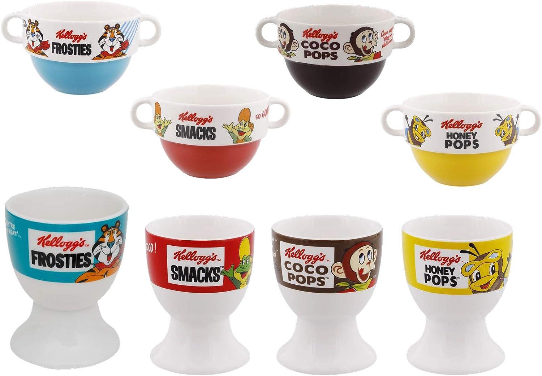 Kellogg`s M/üsli Schale Eierbecher Tassen Retro Vintage Becher und Eierbecher 4er Set Eierbecher