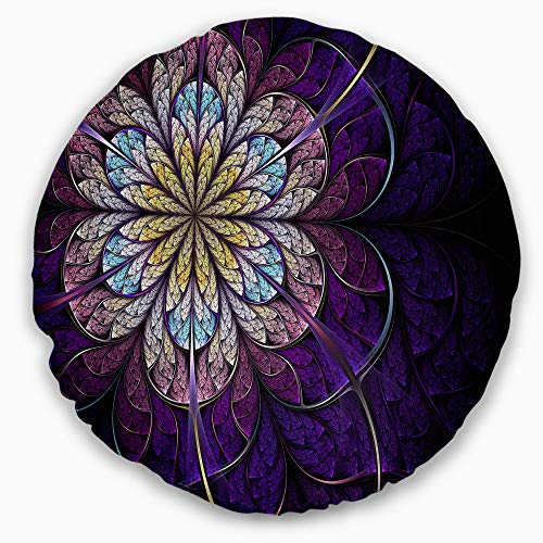 Designart Blue And Pink Large Fractal Flower Floral Throw Round Living Room Sofa Pillow Insert Cushion Cover Printed On Both Side 20 Shefinds