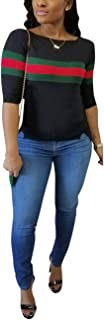 Women's Ribbed Ribbon Stripe Patchwork Half Sleeve T-Shirt