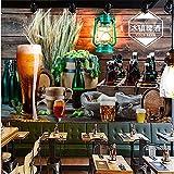IWJAI Papel tapiz fotográfico 3D pegar mural de pared sala de estar Botella de cerveza colorida creativa moderna barril de madera Fotomurales Decorativos Pared 3D Póster Sala de Estar Dormitorio TV Fo