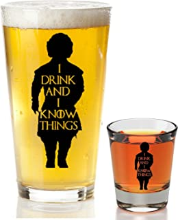 I Drink And I Know Things Beer Glass With Complimentary Shot Glass - Game Of Thrones Merchandise | Tyrion Lannister Funny ...