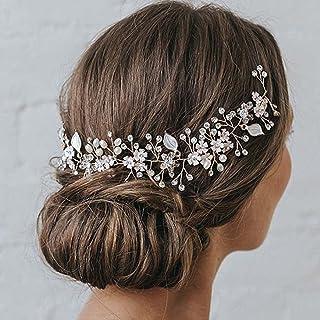 Handcess - Cerchietto per capelli da sposa con perle in cristallo argentato, con foglie di strass, accessori per capelli d...