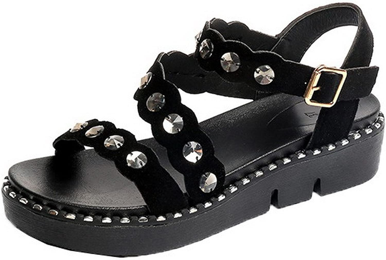 AllhqFashion Women's Solid Imitated Suede Open-Toe Buckle Sandals, FBULC012544