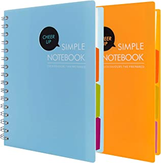 Spiral Wirebound Notebooks, 4 Subject with Divider, A5 Notebook, 240 Pages, 2 Pack (Blue Yellow)