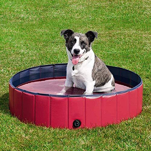 yumeng Faltbare Hund Planschbecken Hundebecken Haustierbecken Planschbecken Schwimmbad für Haustiere wie Hunde Katzen 120 * 30cm