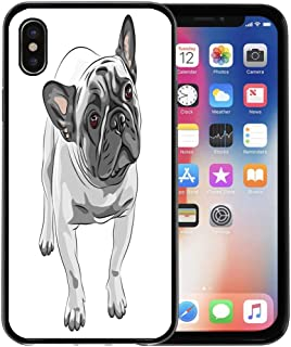 Semtomn Phone Case for Apple iPhone Xs case,Brown Sketch Closeup Portrait of The Domestic Dog Fawn French Bulldog Breed Gray White for iPhone X Case,Rubber Border Protective Case,Black