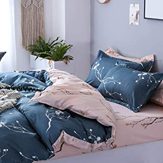 TINE Flower Printing Easy Care Single Double King Duvet Set Multi Color and Size Duvet Cover Bedding Quilt Cover Set with Pillowcase with Zipper Closure Ultra Soft,240x220cm