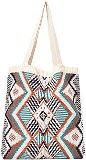 Gesh Fashion Winter Bohemian Woven Damen Schultertasche Große Kapazität Reise Handtasche Casual Messenger Bag Tote Bag Weiß