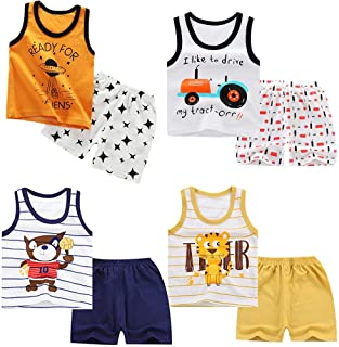 XM-Amigo 8 Paquetes e Chalecos sin Mangas para niños Camisetas sin Mangas Camisetas sin Mangas Pantalones Cortos Conjuntos...