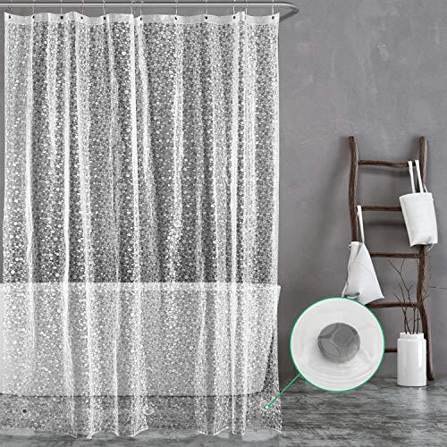 Carttiya Duschvorhang Transparent 200x240 Shower Curtains Duschvorhänge Anti-Schimmel Badevorhang - Wasserdichter Badezimmervorhang mit 12 Edelstahlhaken und Beschwertem Saum