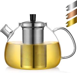 ecooe Oryginalny dzbanek do herbaty ze szkła borokrzemianowego z wyjmowanym sitkiem ze stali nierdzewnej