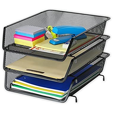 3 Pack - Stackable Desk File Document Letter Tray Organizer, Black