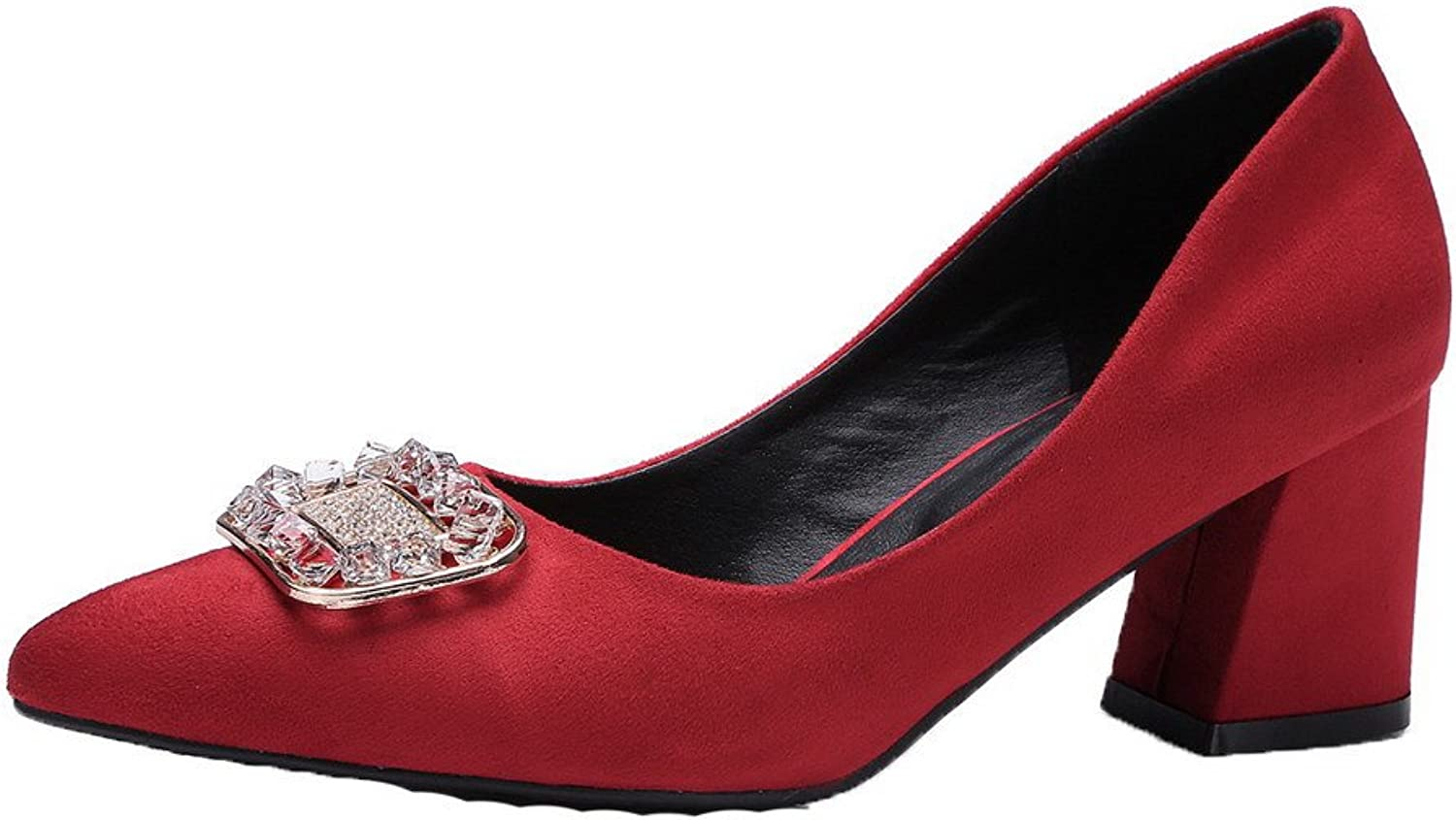 AmoonyFashion Women's Frosted Pointed Closed Toe Kitten Heels Pull On Solid Pumps-shoes