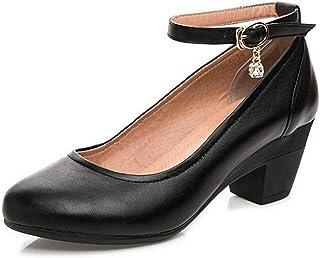 WUIWUIYU Femme élégant Escarpins Bride Cheville Boucle Bout Rond Mary Janes Chaussures
