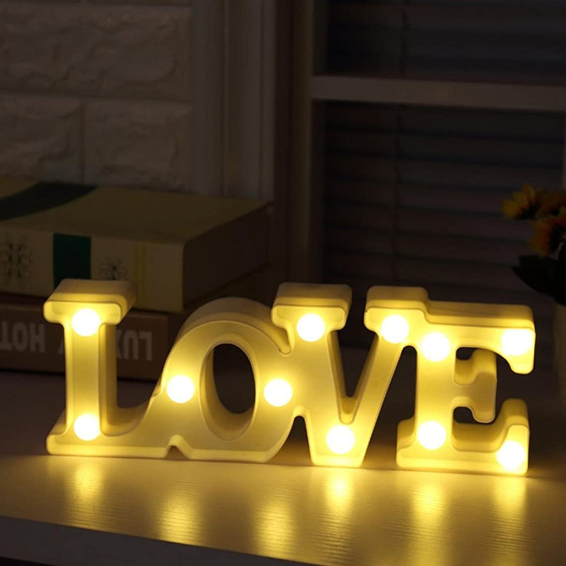 Hongxin LOVE Alphabet Letters LED Marquee Sign Night Light For Wedding Decor Alphabet Light Indoor Wall Decoration Light Up Standing Hanging (white)