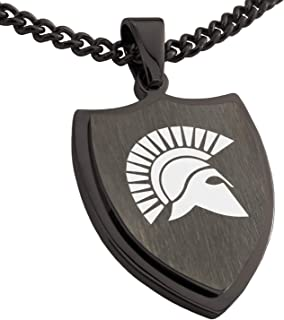 Tioneer Stainless Steel Ares Greek God of War Shield Pendant Necklace