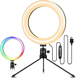ELEGIANT stativringljus, mobil LED-ringljus med 10 RGB-färger + 10 ljusstyrkenivåer för fotografering, videoinspelning, sm...