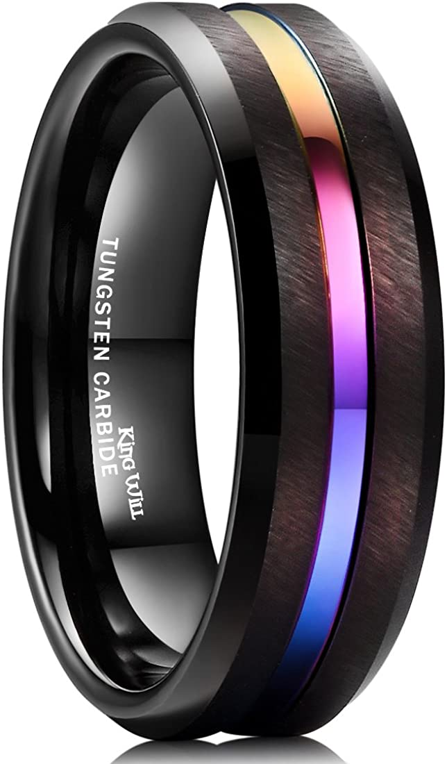King Will Duo Mens 7mm 8mm Tungsten Carbide Ring Rose Gold/Yellow Gold/Blue/ Plated Intermediate Groove Wedding Band
