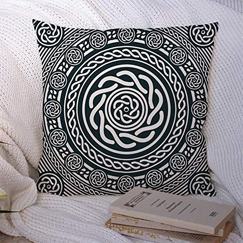 Decorative Polyester Throw Pillow Covers Abstract Geometry Black White Circles Pattern Signs Decor Ornament an Links Mosaic Symbols Celtic Square Pillow Covers for Couch Sofa Home Decor 16x16 Inch