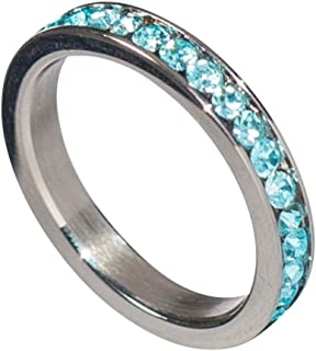 Birthstone Eternity Ring~March~Stainless Steel~Cubic Zirconia CZ Band~Aquamarine~Light Blue Crystals~Stackable~Mother's Ring~Children's Ring~Women's Jewelry
