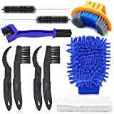 Oumers Bicycle Clean Brush Kit, 10pcs Motorcycle Bike Chain Cleaning Tools Make Chain/Crank/Tire/Sprocket Cycling Corner Stain Dirt Clean, Durable/Practical fit All Bike