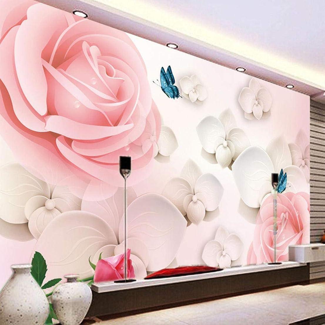ハリウッド混乱させるピッチLjjlm 3D Hd大壁画ピンクローズ写真壁紙風景用壁結婚式の家ロマンチックな壁紙家の装飾?-260X180CM