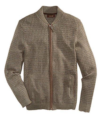 Tasso Elba Men's Textured Zip-Front Cardigan (Brown Grey Combo, S)