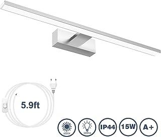 Lámpara de Espejo Aplique Baño,VITCOCO Lámpara LED 15W 1200LM 60cm Blanca Fría 6000K Luz de maquillaje Con interruptor Luz de espejo de baño impermeable IP44 [Clase de eficiencia energética A+]