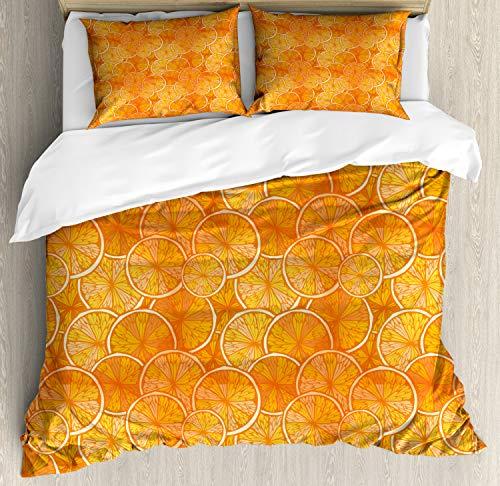 ABAKUHAUS Mandarina Funda Nórdica, Ronda Rebanada de Naranjas, Estampado Lavable 3 Piezas con 2...