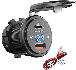 PD Type C USB شاحن سيارة مقبس 18W و QC 3.0 USB شحن سريع 12V/24V مخرج طاقة للسيارة مقاوم للماء 64W توصيل الطاقة 2.0 36W للد...