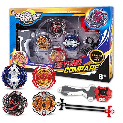 infinitoo New Toupie Burst avec Launcher Gyro métal Combat| Battle Set Jouets Classiques pour Enfants Adulte (4...