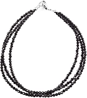 Shop LC Delivering Joy 925 Sterling Silver Multi Strand Black Spinel Bead Bracelet Jewelry for Women Size 7.5