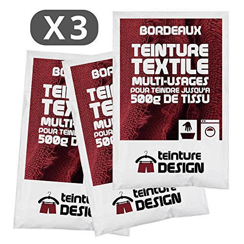 Juego de 3bolsas de tinte textil para ropa y telas naturales, color burdeos