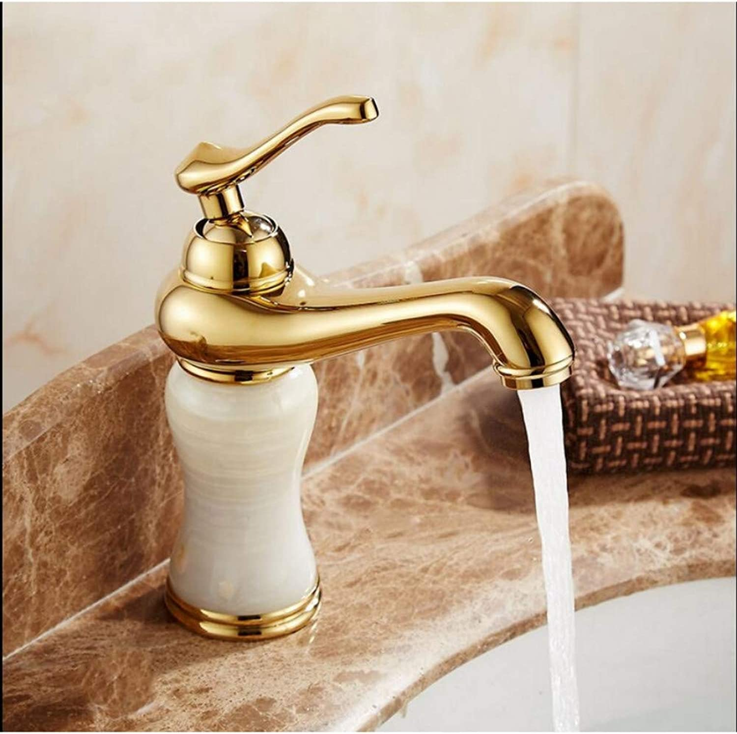 Lddpl Fashion High Quality Solid Brass and Natural Jade Construction Bathroom Hot and Cold gold Finish Basin Faucet,Tap Sink Mixer