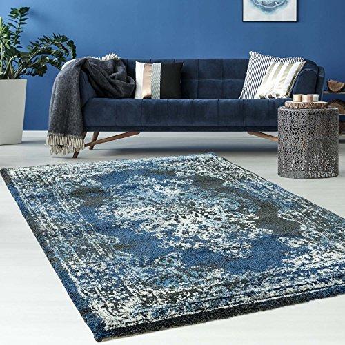 """Teppich modern\""""Gabeh\"""" shabby chic blau grau beige orientalisch used look (120 x 170 cm, gabeh-3931-antharzit-blau)"""