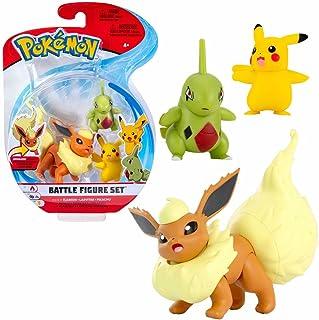 Selectie Battle figuren | Set van 3 | Pokemon | Action speelfiguren om te verzamelen, speelfigur:Flamara. Larvitar & Pikachu