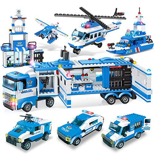 EXERCISE N PLAY City Police, 1039 Pieces City Police Station Building Set, 8 in 1 Mobile Command Center Building Toy with Cop Car, Helicopter, Boat, Best Learning Roleplay STEM Toy for Boys Girls 6-12