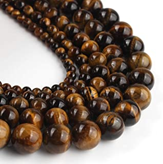 Yochus 8mm Yellow Tiger Eye Round Loose Beads Natural Stone Beads for Jewelry Making
