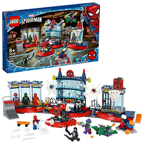 LEGO Marvel Spider-Man Attack on The Spider Lair 76175 Cool Building Toy, Featuring The Spider-Man Headquarters; Includes Spider-Man, Green Goblin and Venom Minifigures, New 2021 (466 Pieces)