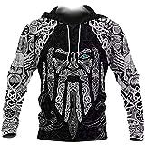 3D Printing Men's Viking Odin's Eye Tattoo Hoodie Nordic Mythology Long Sleeve Sweatshirt Loose Oversized Pullover,Hoodie,7XL