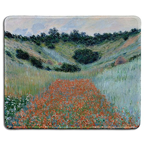 dealzEpic - Art Mousepad - Natural Rubber Mouse Pad with Famous Fine Art Painting of Poppy Field in a Hollow Near Giverny by Claude Monet - Stitched Edges - 9.5x7.9 inches