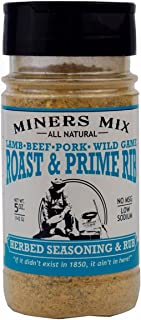 Miners Mix All Natural Roast and Prime Rib Low Salt Seasoning Dry Rub with Rosemary, Garlic, Black Pepper, Oregano, and Thyme for the Perfect Crust on Your Roast, Pork or Lamb. No MSG