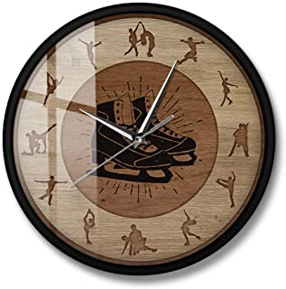 Figure Skating Wood Structure Printed Wall Clock Room Girls Silent Hanging Wall Sport Clock Winter Sports Furnishing Acces...