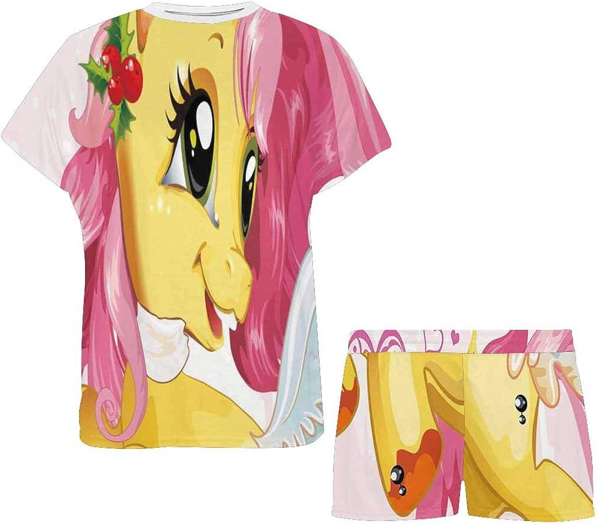 INTERESTPRINT Running Beautiful Baby Horse Women's Lightweight Pajama Set, Short Summer Pjs