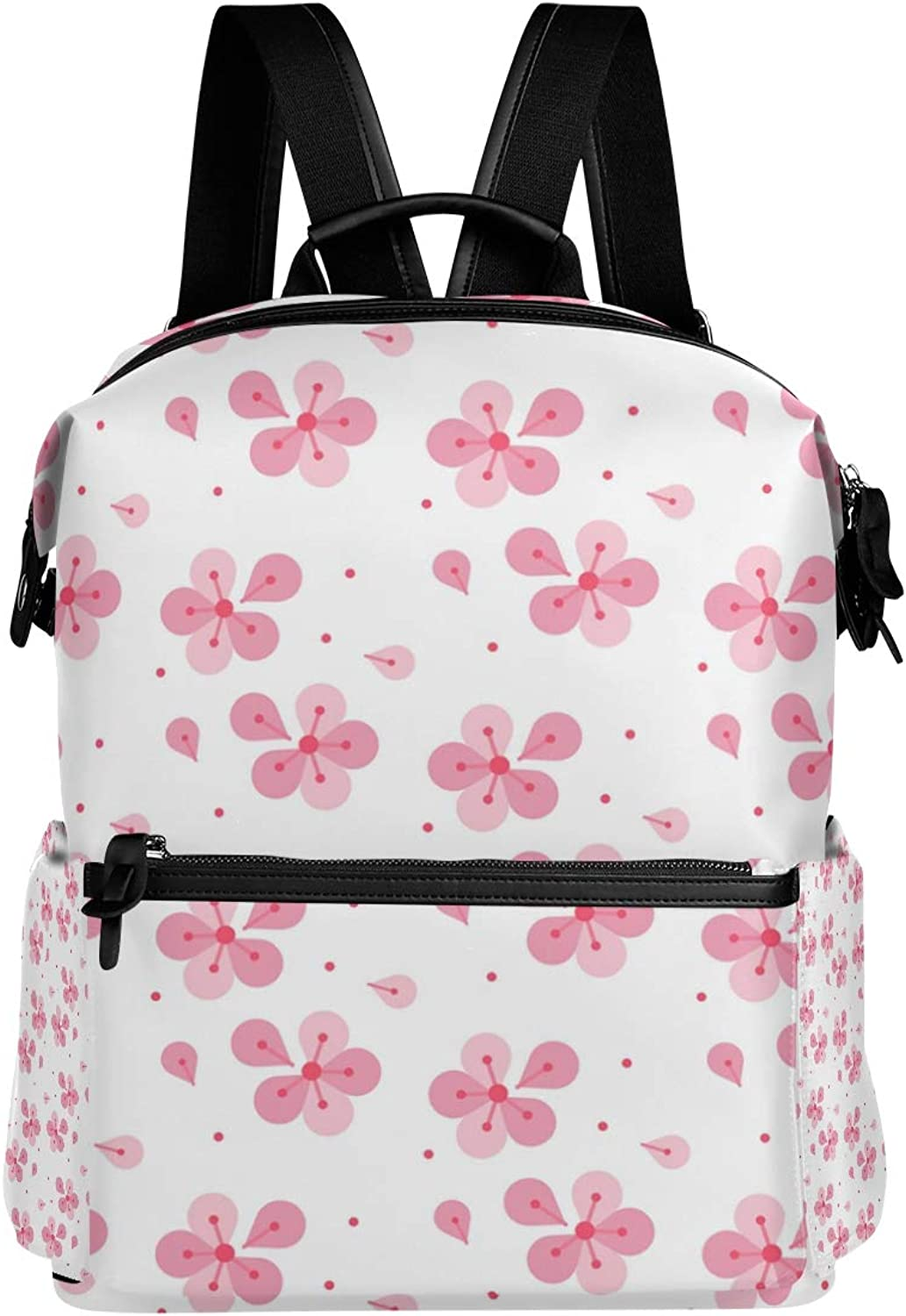 MONTOJ Pink Joint Flowers Pattern Leather Travel Bag Campus Backpack